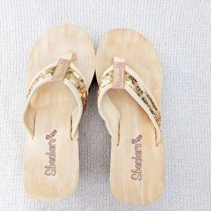 Skechers Gold Sequin Platform Sandal 7.5